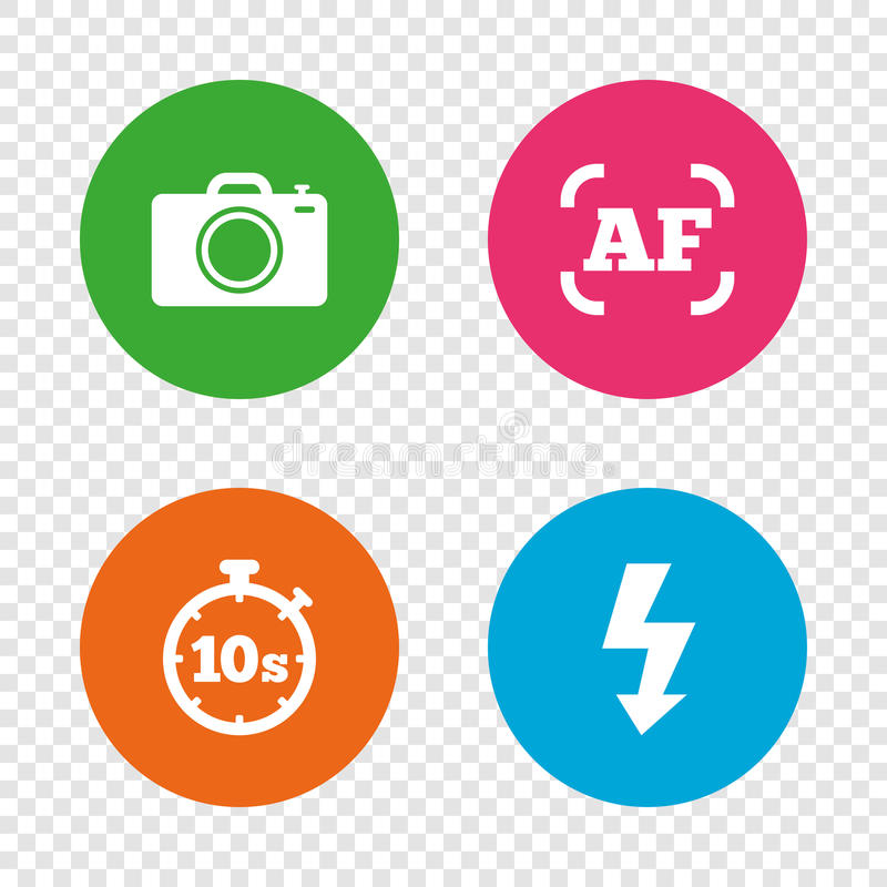 Icône d'appareil-photo de photo Lumière et mise au point automatique instantanées AF illustration libre de droits