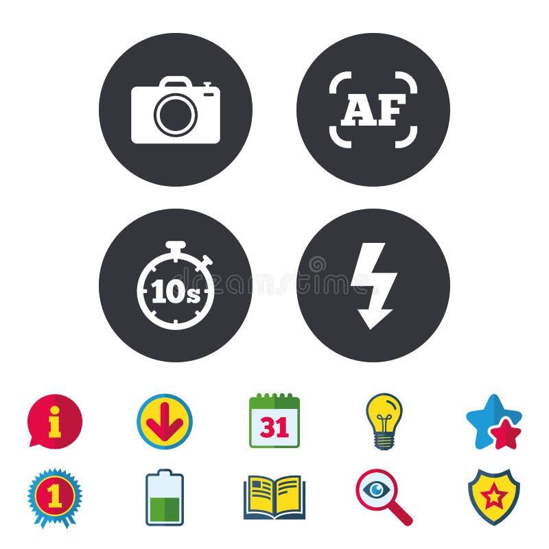Icône d'appareil-photo de photo Lumière et mise au point automatique instantanées AF illustration de vecteur