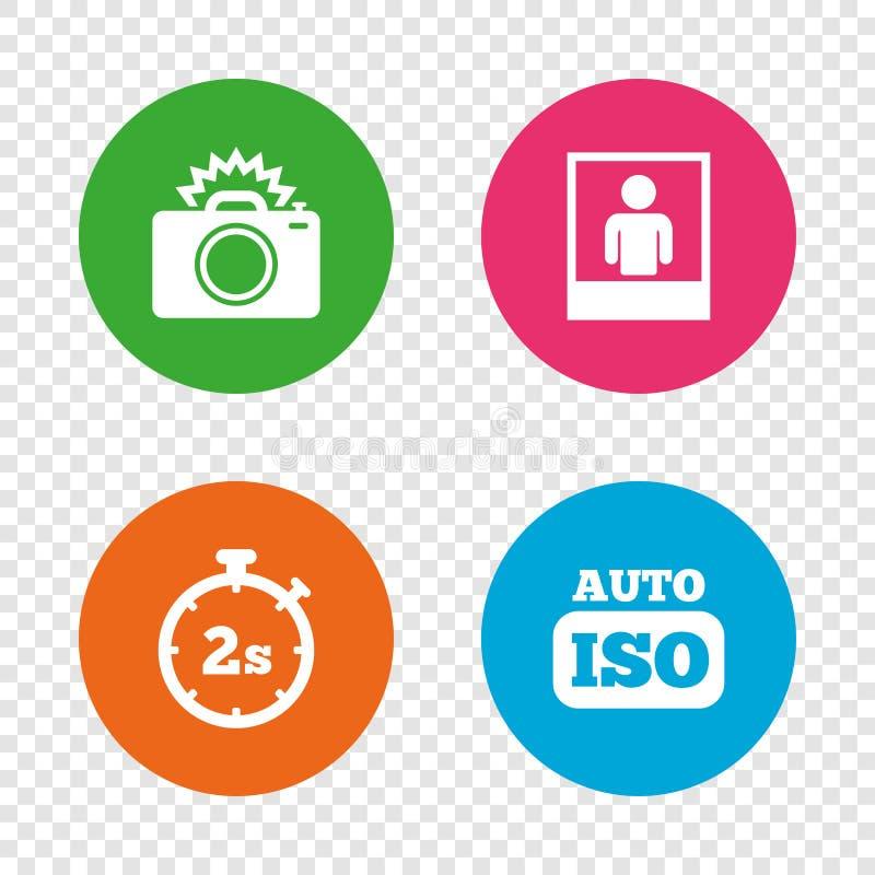 Icône d'appareil-photo de photo Lumière instantanée et OIN automatique illustration stock