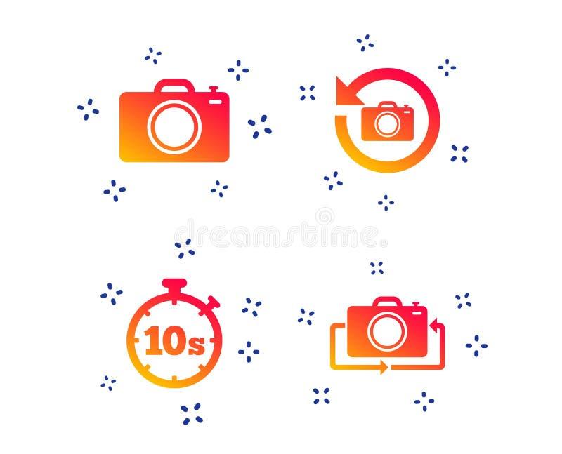Ic?ne d'appareil-photo de photo Renversez le tour ou r?g?n?rez les signes Vecteur illustration stock