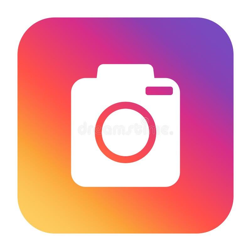Icône d'appareil-photo de vintage sur le gradient coloré illustration de vecteur