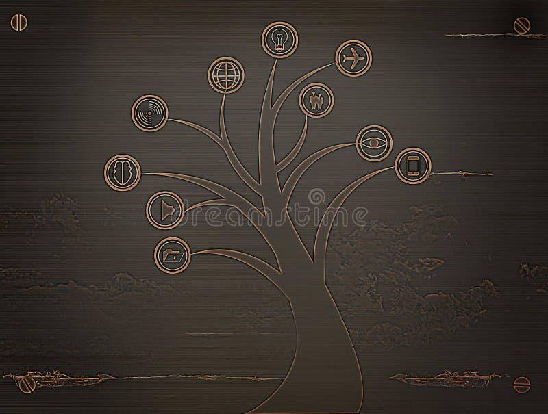 Icône d'arbre en métal d'affaires, concept d'affaires illustration libre de droits