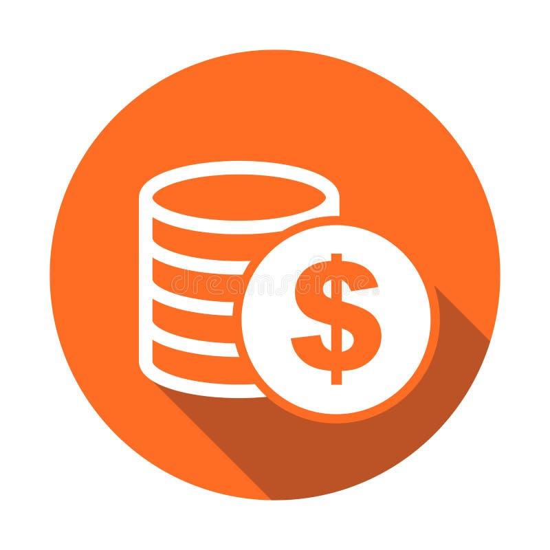 Icône d'argent avec l'ombre sur le fond rond orange Vecteur de pièces de monnaie illustration libre de droits