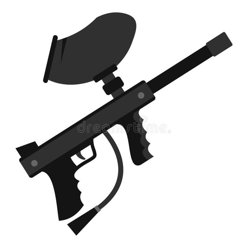 Icône d'arme à feu de marqueur de Paintball, style plat illustration stock