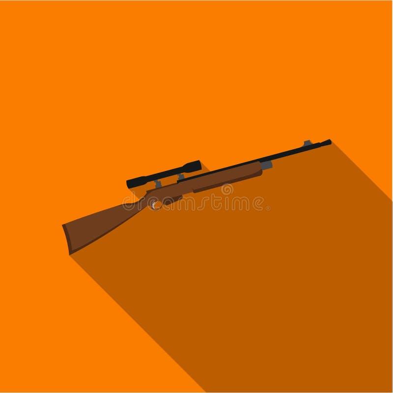 Icône d'arme à feu de tireur isolé de fusil plate Icône simple d'arme des grandes munitions, bras réglés illustration de vecteur