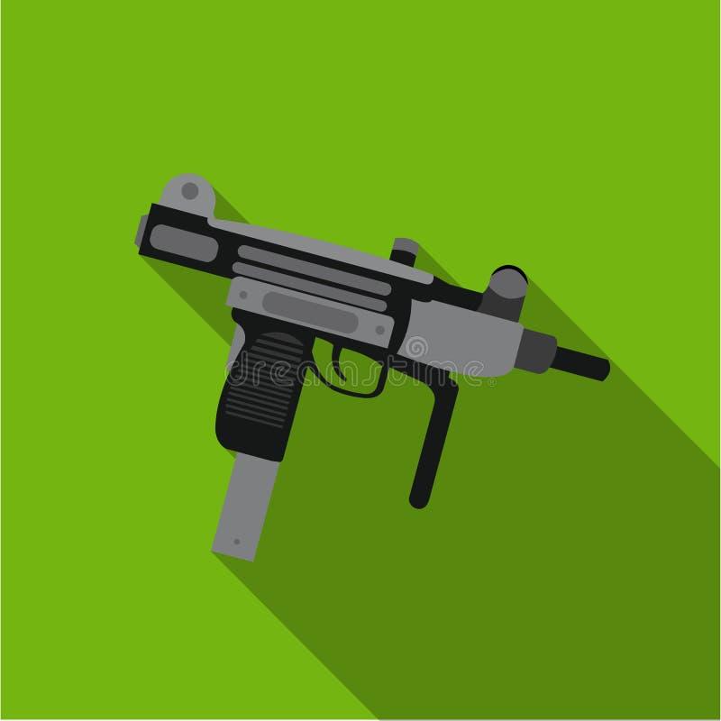Icône d'arme d'UZI plate Icône simple d'arme des grandes munitions, bras réglés illustration libre de droits