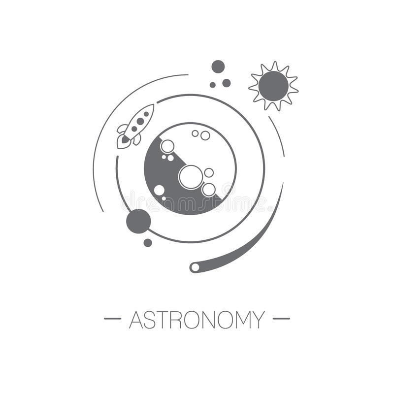 Icône d'astronomie OIN minimalistic d'illustration de vecteur de conception plate illustration de vecteur