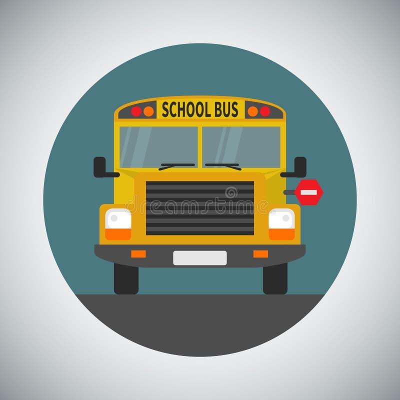 Ic?ne d'autobus scolaire dans le style plat illustration de vecteur