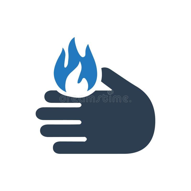 Icône d'avertissement de brûlure illustration stock