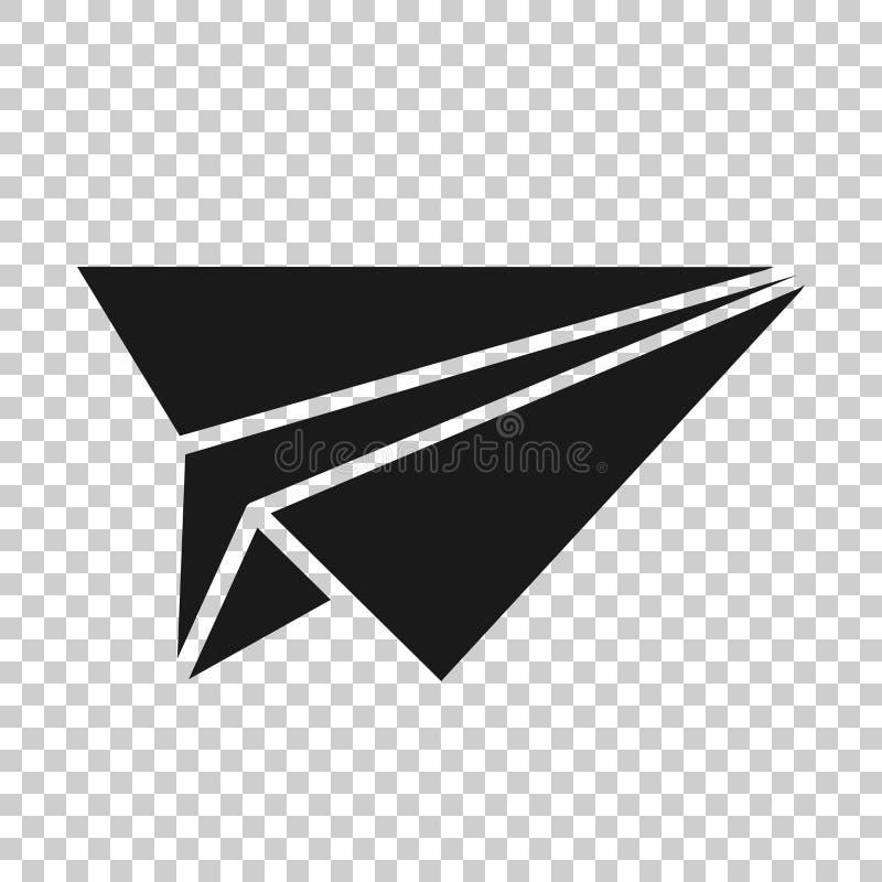 Ic?ne d'avion de papier dans le style transparent Illustration de vecteur plat sur le fond d'isolement Concept ? trajectoire a?ri illustration de vecteur