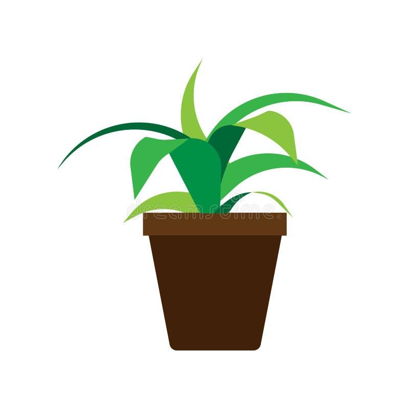 Ic?ne d?corative de jardinage florale de vecteur d'?l?ment de pot de fleurs Vase int?rieur ? bureau d'illustration plate de maiso illustration de vecteur