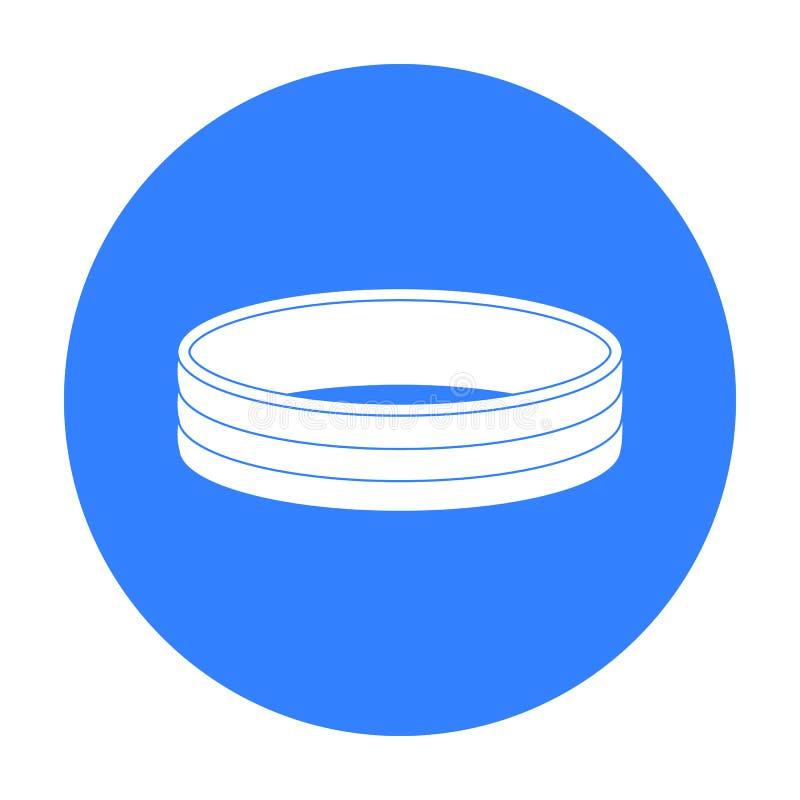 Icône d'or d'anneau dans le style noir d'isolement sur le fond blanc Illustration de vecteur d'actions de symbole de bijoux et d' illustration libre de droits