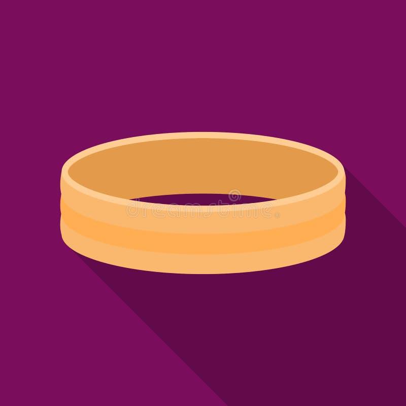 Icône d'or d'anneau dans le style plat d'isolement sur le fond blanc Illustration de vecteur d'actions de symbole de bijoux et d' illustration stock