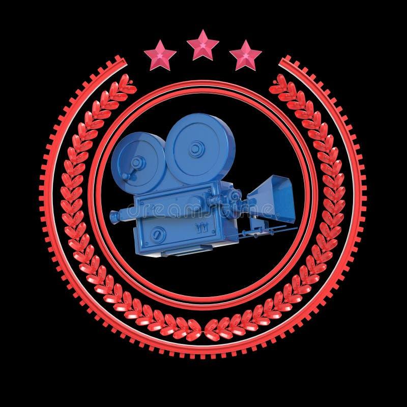 Icône d'or de came de film de vintage détaillé élevé illustration stock