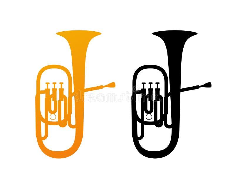 Icône d'or de tuba illustration stock