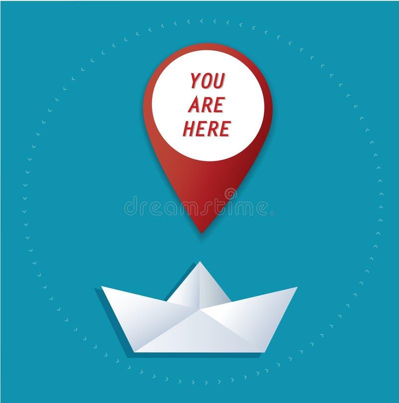 Icône d'emplacement de Pin sur le vecteur de papier de bateau, le concept du voyage illustration stock