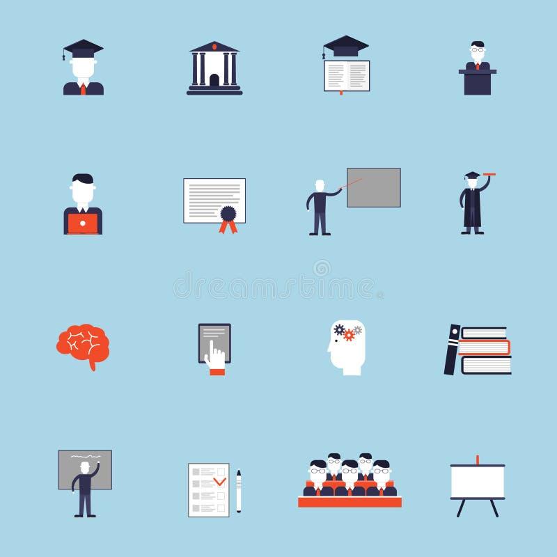 Icône d'enseignement supérieur plate illustration stock