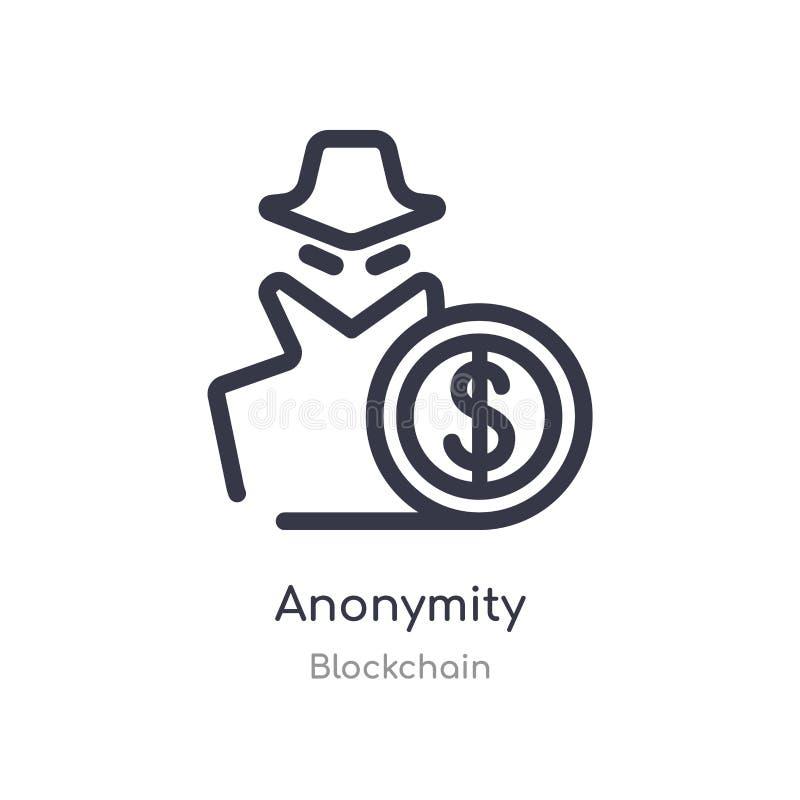 Ic?ne d'ensemble d'anonymat ligne d'isolement illustration de vecteur de collection de blockchain E illustration libre de droits