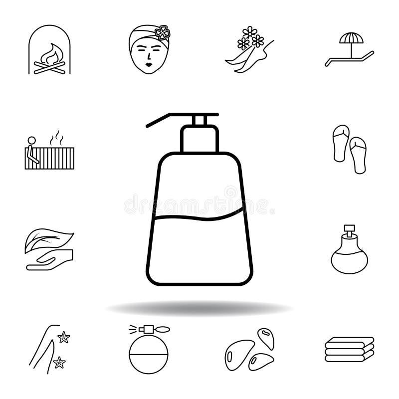 Ic?ne d'ensemble de bouteille de savon liquide Ensemble détaillé de station thermale et détendre l'icône d'illustrations Peut ?tr illustration stock