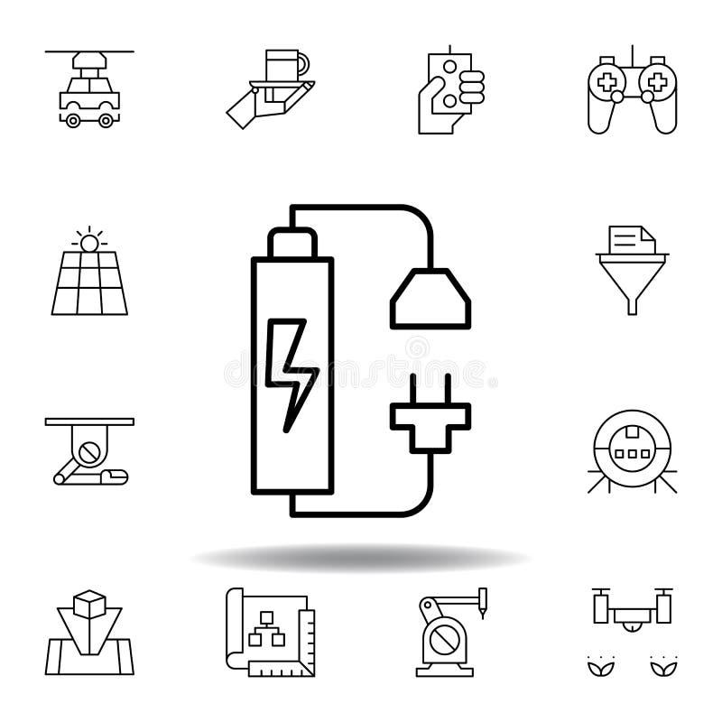 Ic?ne d'ensemble de chargeur de robotique placez des icônes d'illustration de robotique des signes, symboles peuvent être employé illustration stock