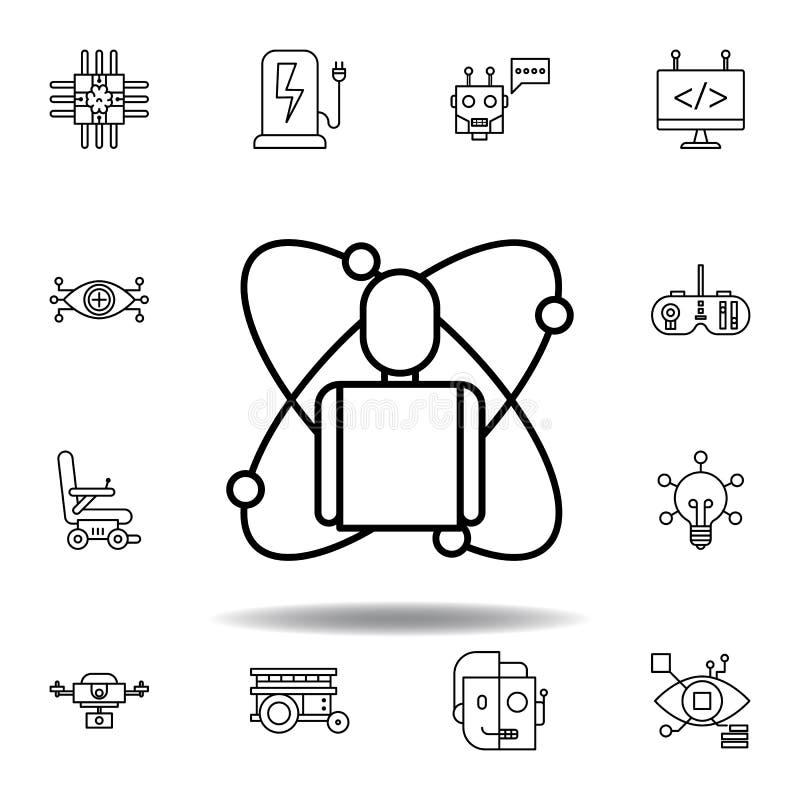 Ic?ne d'ensemble de corps de robotique placez des icônes d'illustration de robotique des signes, symboles peuvent être employés p illustration libre de droits