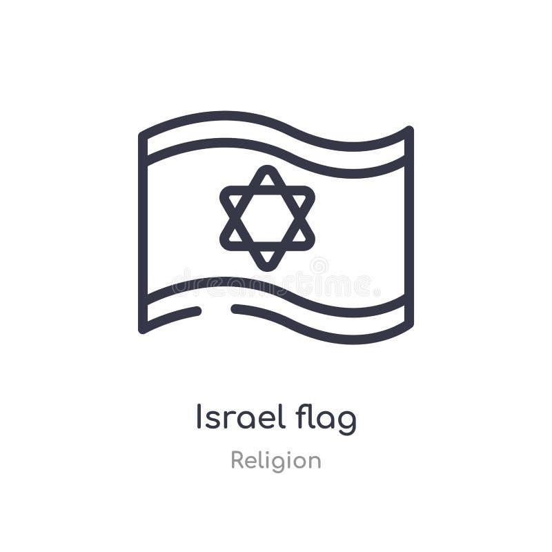 Ic?ne d'ensemble de drapeau de l'Isra?l ligne d'isolement illustration de vecteur de collection de religion icône mince editable  illustration libre de droits