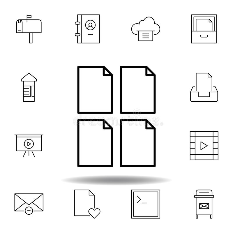 Ic?ne d'ensemble de feuille de papier de document Ensemble détaillé d'icônes d'illustrations de multimédia d'unigrid Peut être em illustration libre de droits
