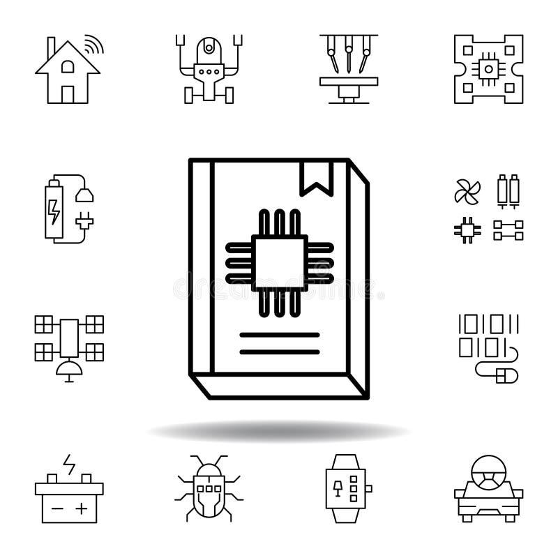 Ic?ne d'ensemble de guide de robotique placez des icônes d'illustration de robotique des signes, symboles peuvent être employés p illustration stock