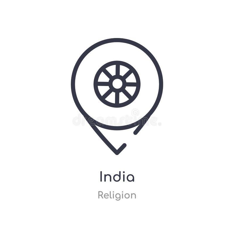 Ic?ne d'ensemble de l'Inde ligne d'isolement illustration de vecteur de collection de religion icône mince editable de l'Inde de  illustration libre de droits