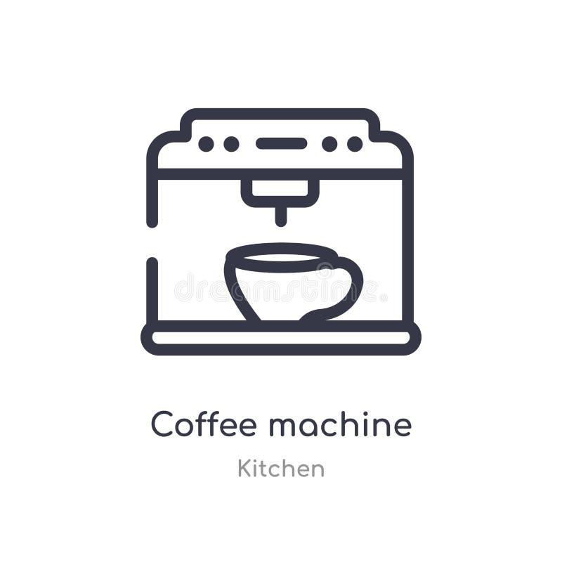 Ic?ne d'ensemble de machine de caf? ligne d'isolement illustration de vecteur de collection de cuisine icône mince editable de ma illustration libre de droits