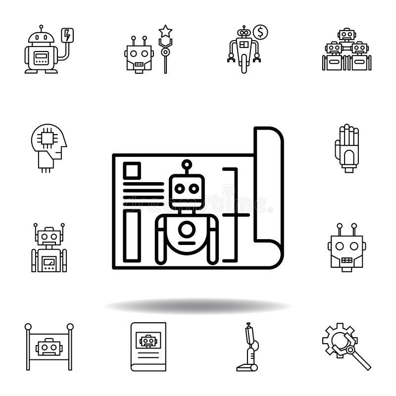 Ic?ne d'ensemble de mod?le de robotique placez des icônes d'illustration de robotique des signes, symboles peuvent être employés  illustration de vecteur