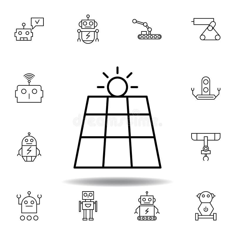 Ic?ne d'ensemble de panneau solaire de robotique placez des icônes d'illustration de robotique des signes, symboles peuvent être  illustration stock