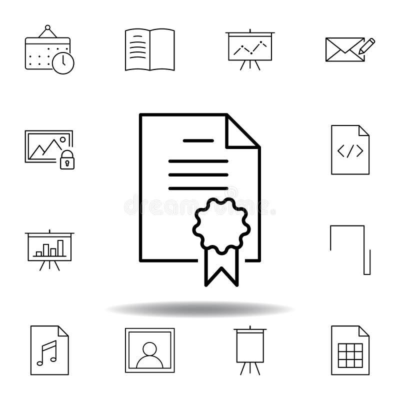 Ic?ne d'ensemble de permis de dossier d'accord Ensemble détaillé d'icônes d'illustrations de multimédia d'unigrid Peut ?tre emplo illustration de vecteur