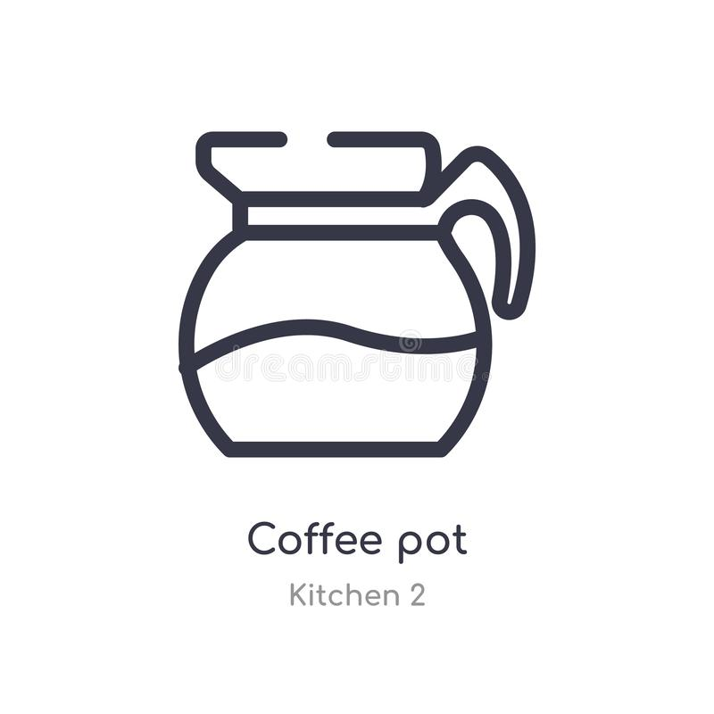 Ic?ne d'ensemble de pot de caf? ligne d'isolement illustration de vecteur de collection de la cuisine 2 icône mince editable de p illustration de vecteur
