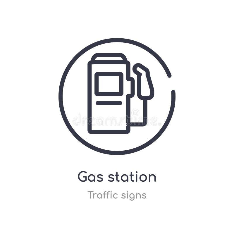 Ic?ne d'ensemble de station service ligne d'isolement illustration de vecteur de collection de signalisation icône mince editable illustration de vecteur
