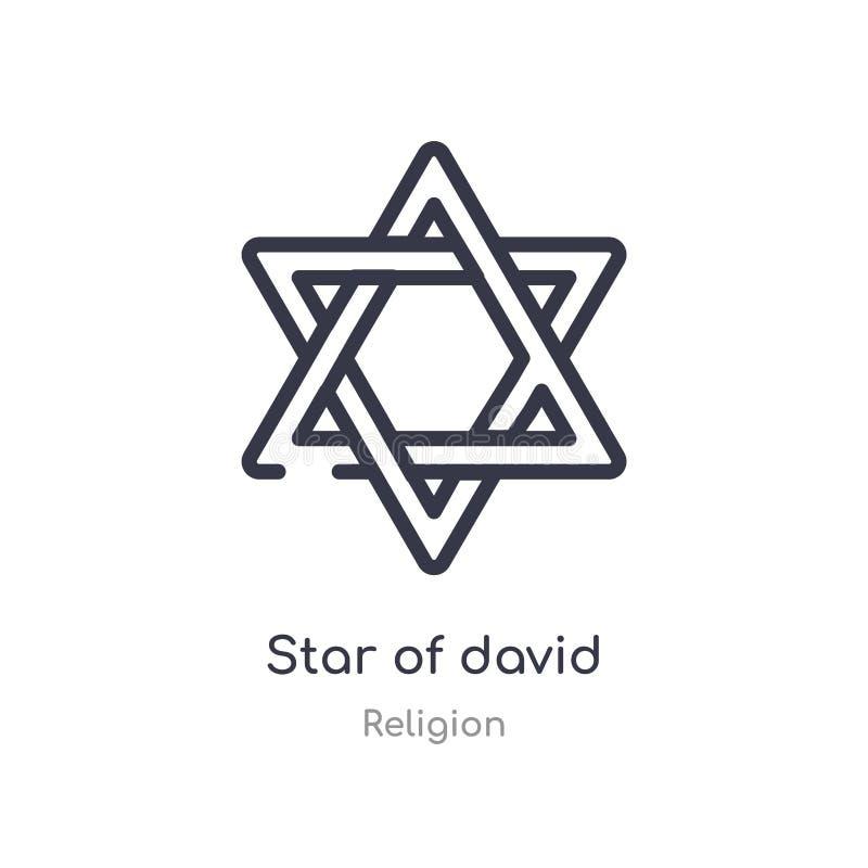 Ic?ne d'ensemble d'?toile de David ligne d'isolement illustration de vecteur de collection de religion icône mince editable d'éto illustration de vecteur