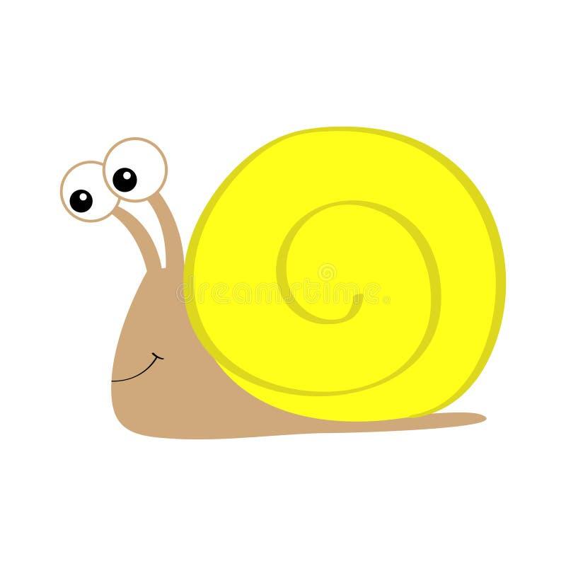 Ic?ne d'escargot Maison de coquille jaune Caract?re dr?le de kawaii mignon de bande dessin?e Insecte d'isolement Grands yeux Visa illustration stock