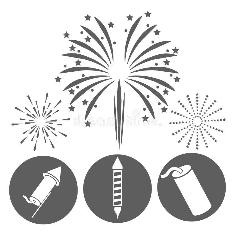 Icône De Nuit D Explosion De Célébration De Feu D Artifice
