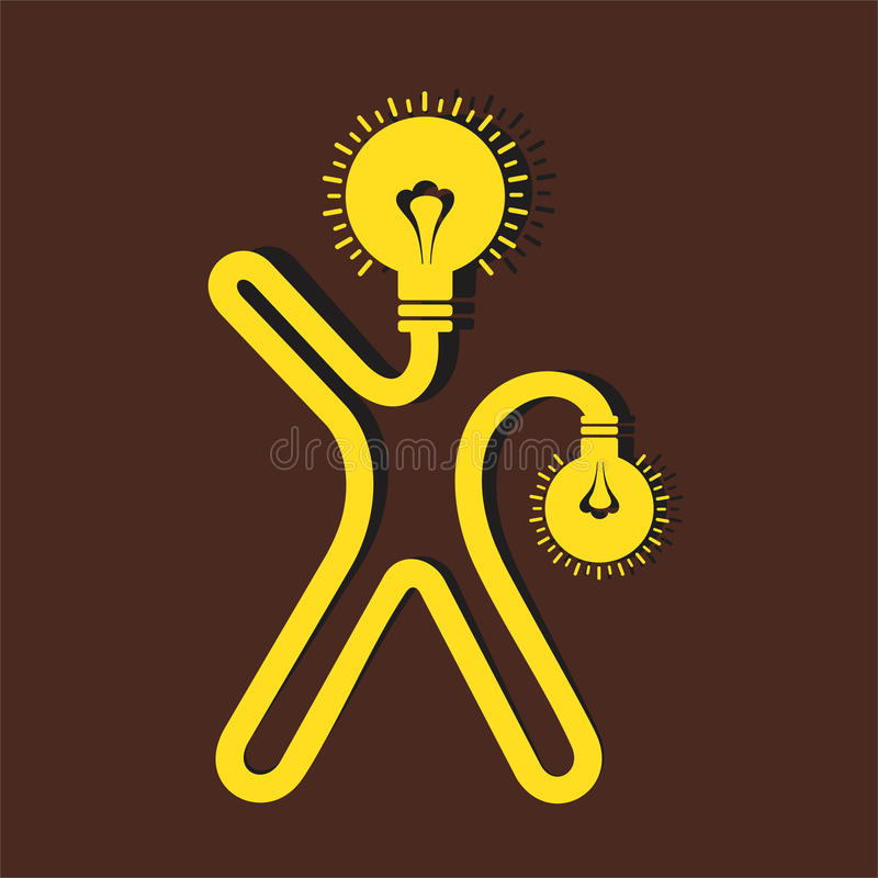 Icône d'homme avec le visage et la main d'ampoule illustration de vecteur