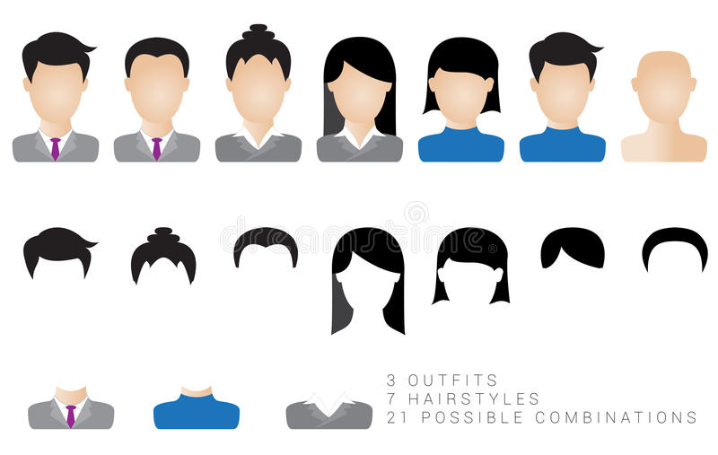 Icône d'homme et d'utilisatrice de femmes illustration libre de droits