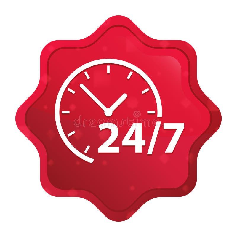 24/7 ic?ne d'horloge brumeuse a mont? bouton rouge d'autocollant de starburst illustration libre de droits