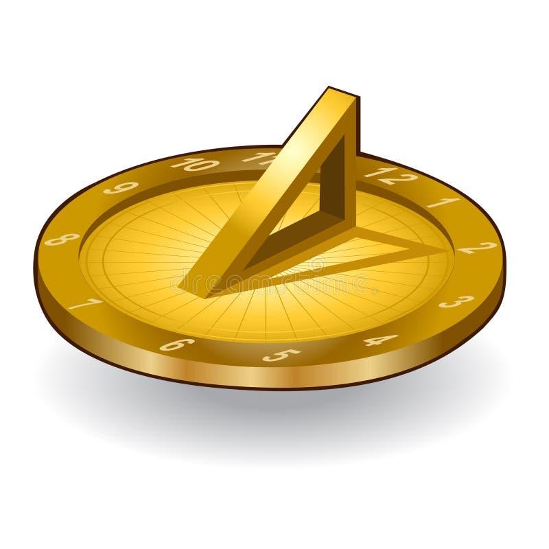 Icône d'horloge du soleil d'or illustration libre de droits