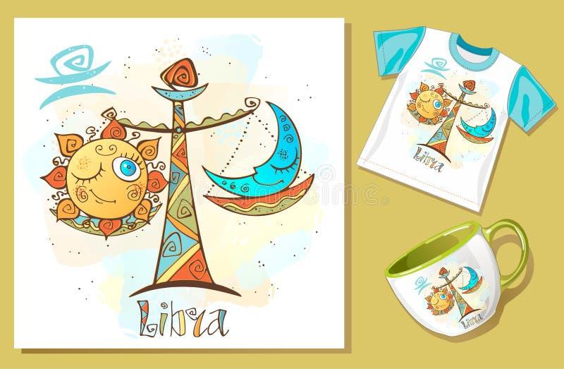 Ic?ne d'horoscope du ` s d'enfants Zodiaque pour des enfants Signe de Balance Vecteur Symbole astrologique comme personnage de de illustration libre de droits