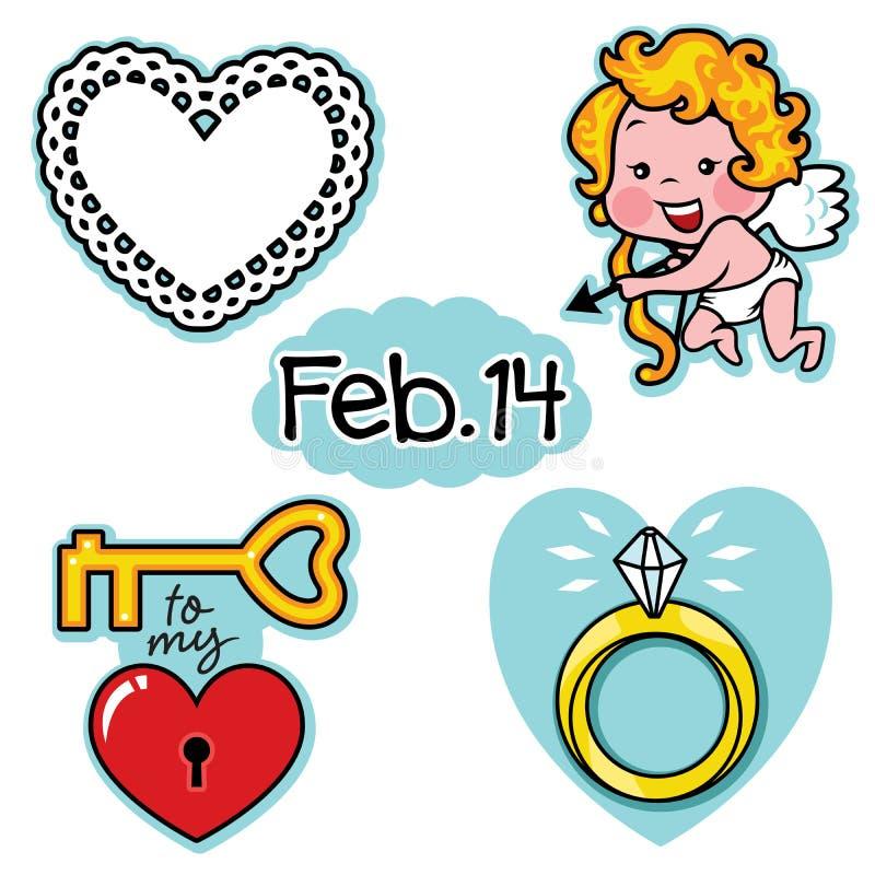 Icône d'illustration d'amour de jour de valentines la véritable a placé avec le cupidon illustration de vecteur