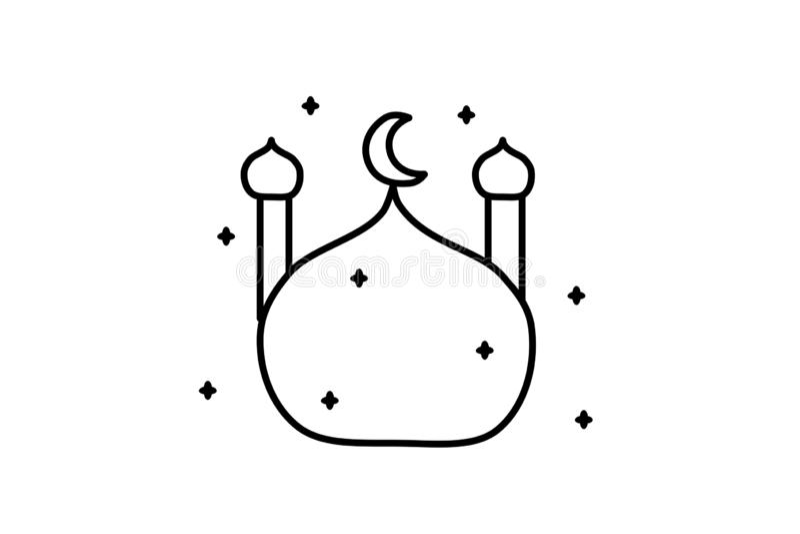 ic?ne d'illustration de vecteur Mosqu?e dans le style arabe Ornement d'Islamicicon Conception arabe Mois saint islamique illustration stock