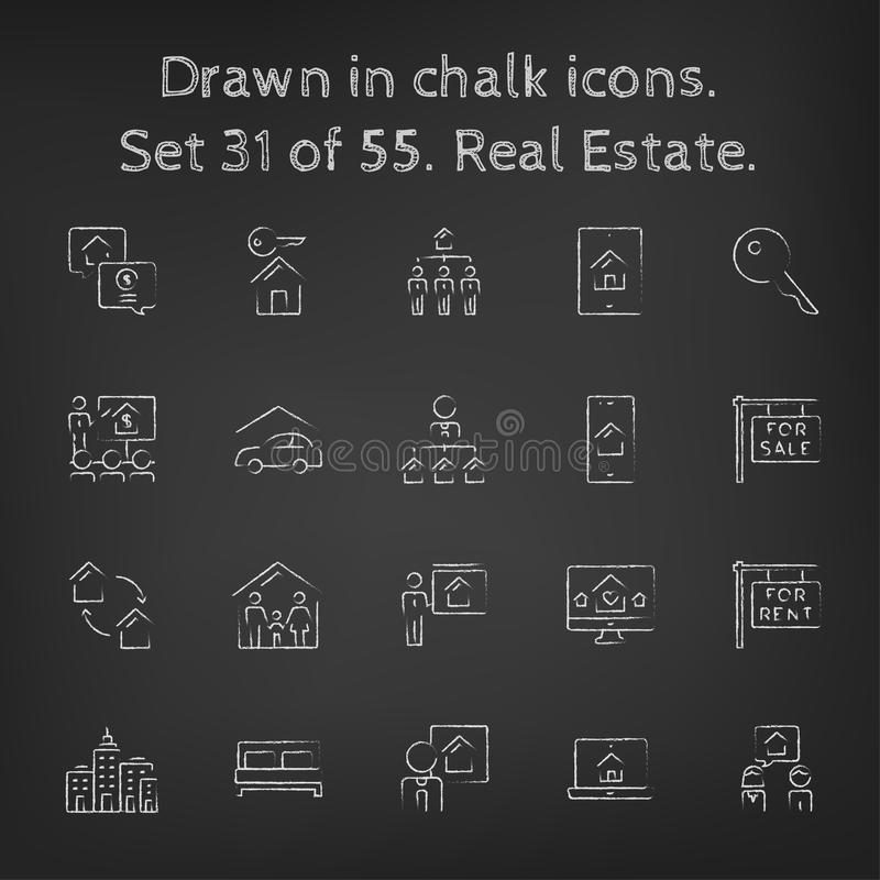 Icône d'immobiliers réglée dessinée dans la craie illustration libre de droits