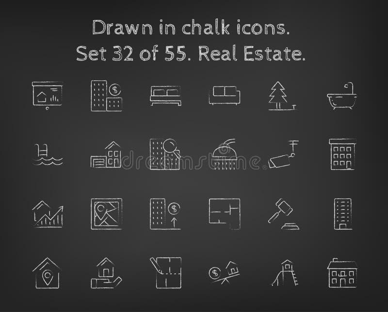 Icône d'immobiliers réglée dessinée dans la craie illustration stock