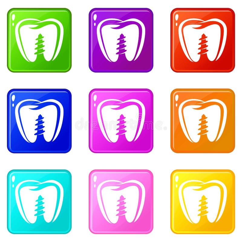 Ic?ne d'implant de dentier, style noir simple illustration libre de droits