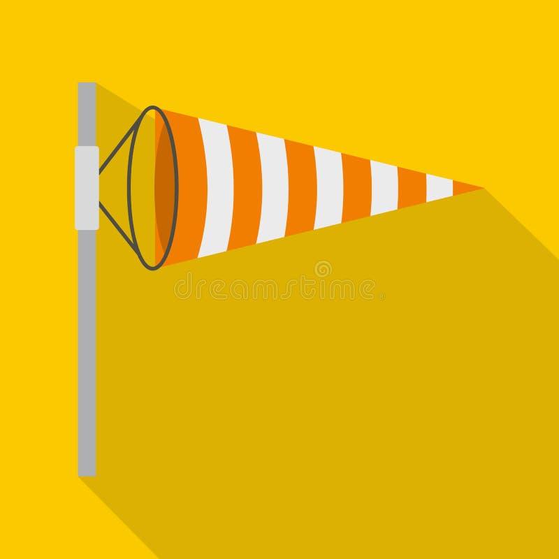 Icône d'indicateur de sens du vent, style plat illustration libre de droits