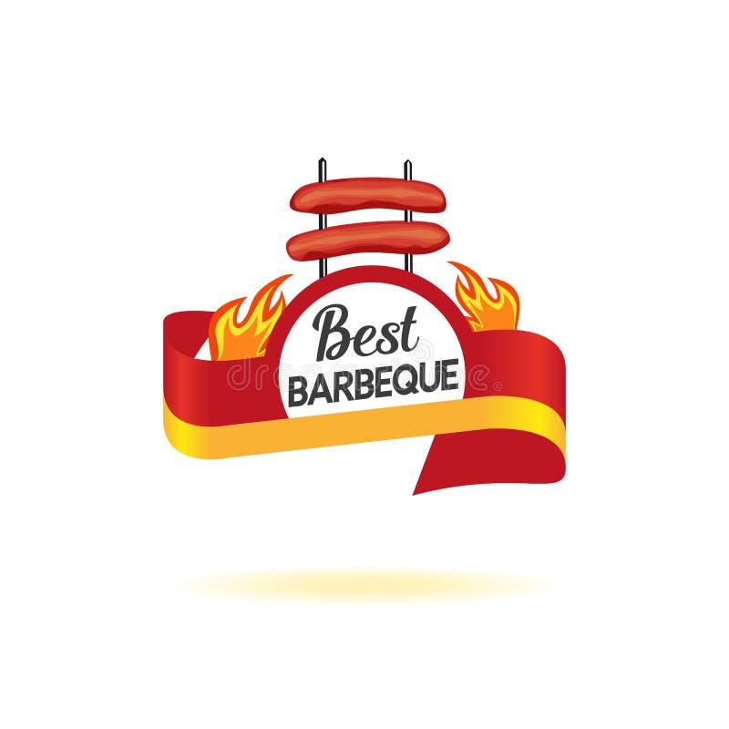 Icône d'insigne de BBQ illustration stock